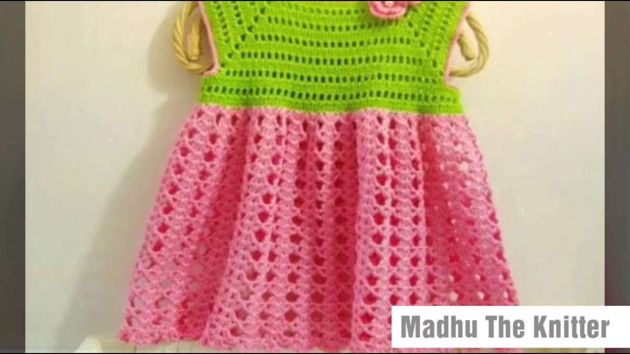 acf5037f2947 Two colour woolen frock design for kids or baby in hindi