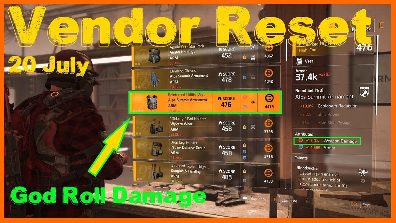The Division 2   Weekly Vendor Reset 20 July   God Roll Chest