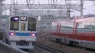 平日夕方の小田急小田原線狛江駅(字幕入り)