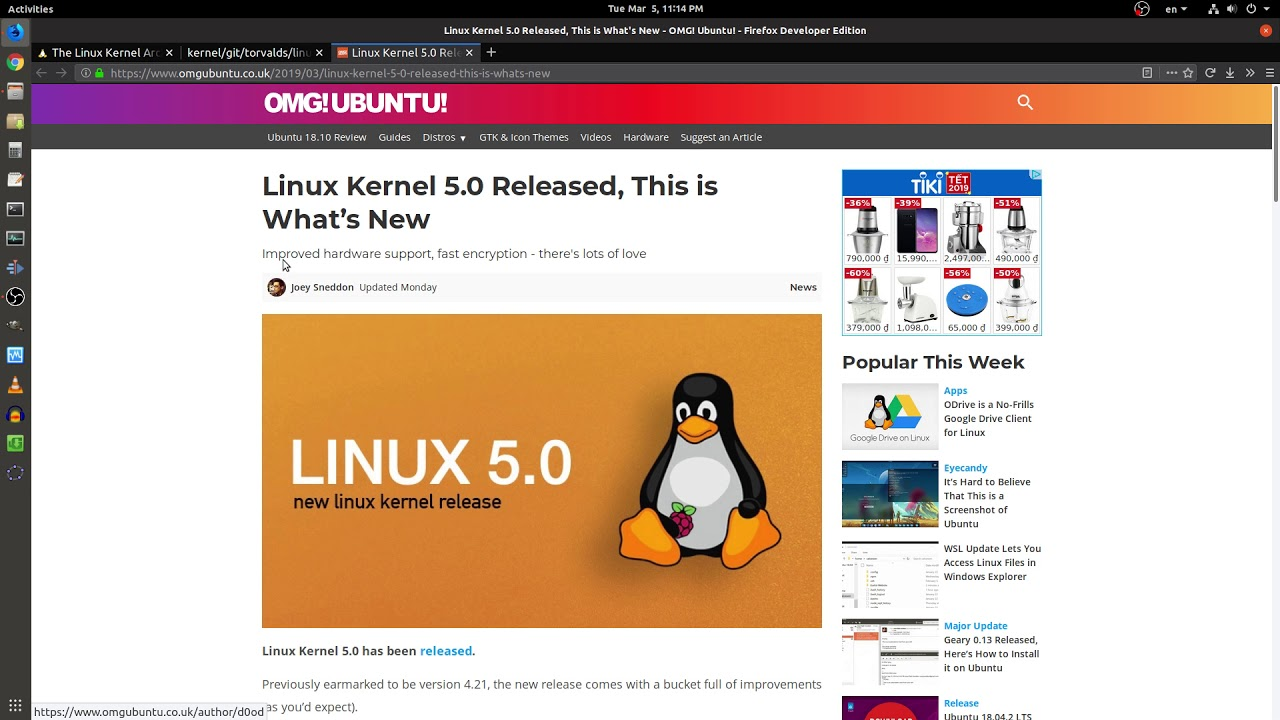 [3/3/2019] The Linux Kernel 5 0 Released | What's New
