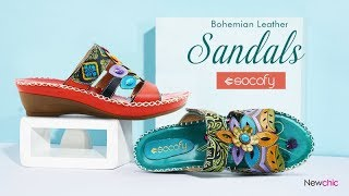 Exotic Bohemian Leather  Hook Loop Sandals|Socofy x Newchic