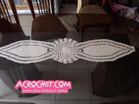 Camino dos puntas parte 1 tejido a crochet viyoutube - Camino de mesa elegante en crochet ...
