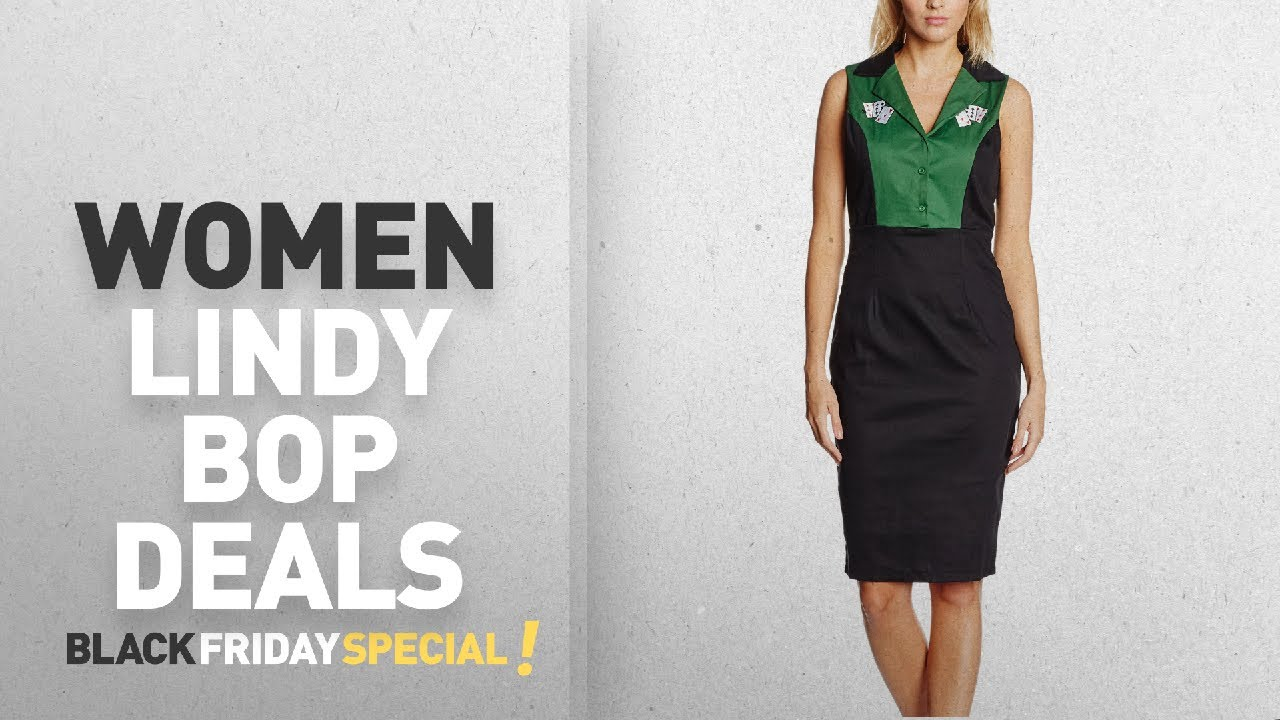 Womens Matessa Cards Green Dress Lindy Bop tIMHJfhgm