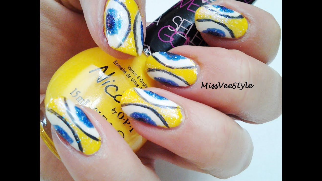 Yellow and Blue Spanish Tile inspired Nail Art Tutorial - YouTube