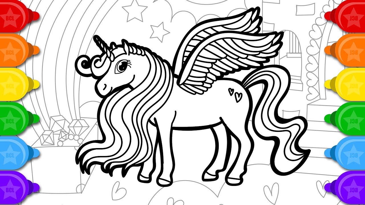 Glitter alicorn drawing and coloring for kids | How to draw glitter alicorn coloring page