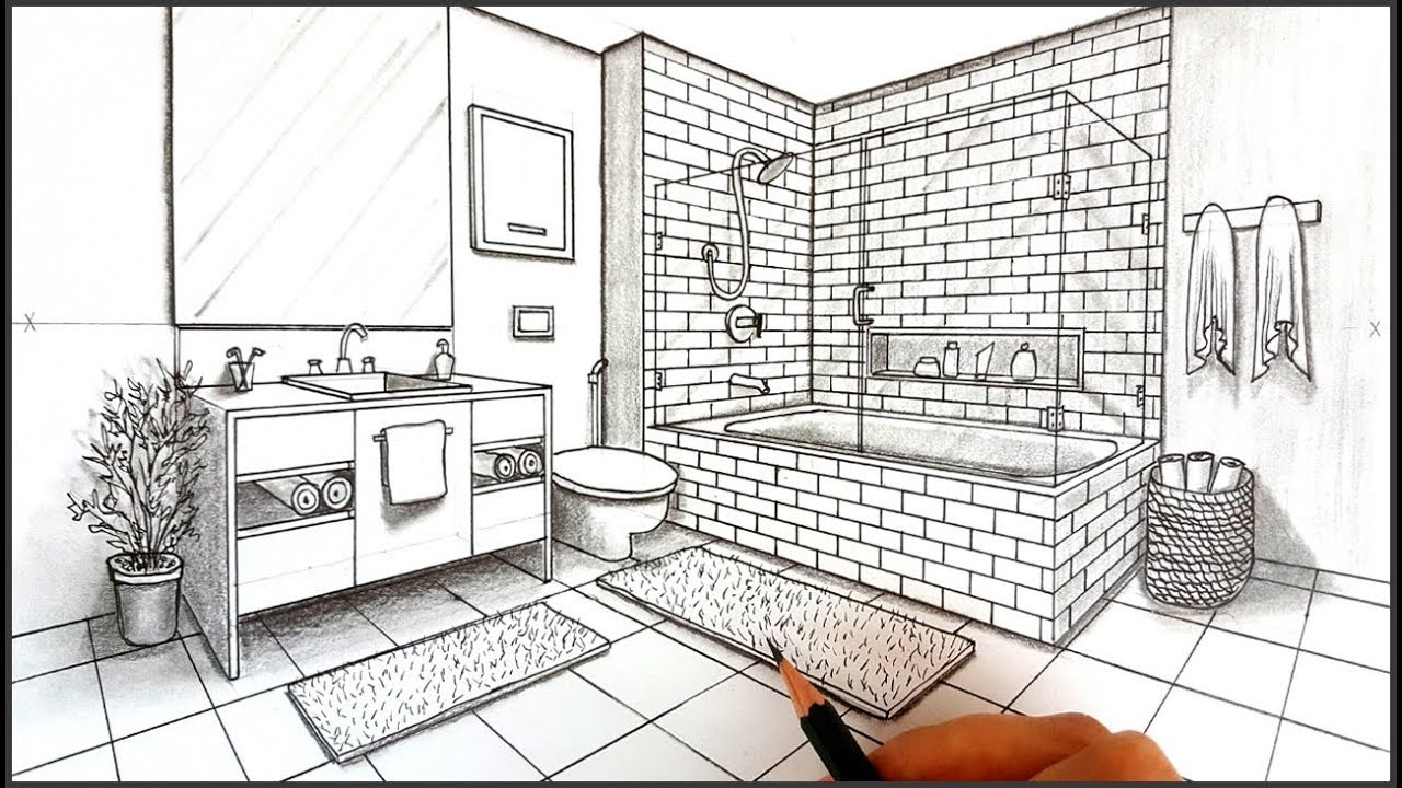 Drawing a Bathroom in Two Point Perspective | Timelapse
