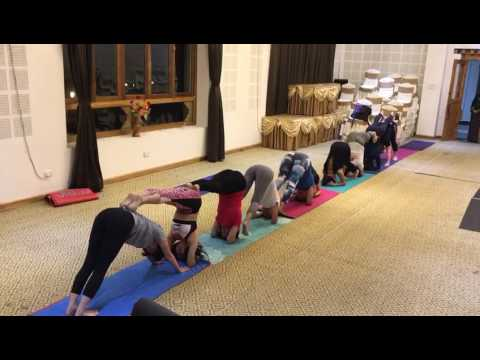 Group Yoga Class at Bhutan - Half Hand Stand Prep Second Round!