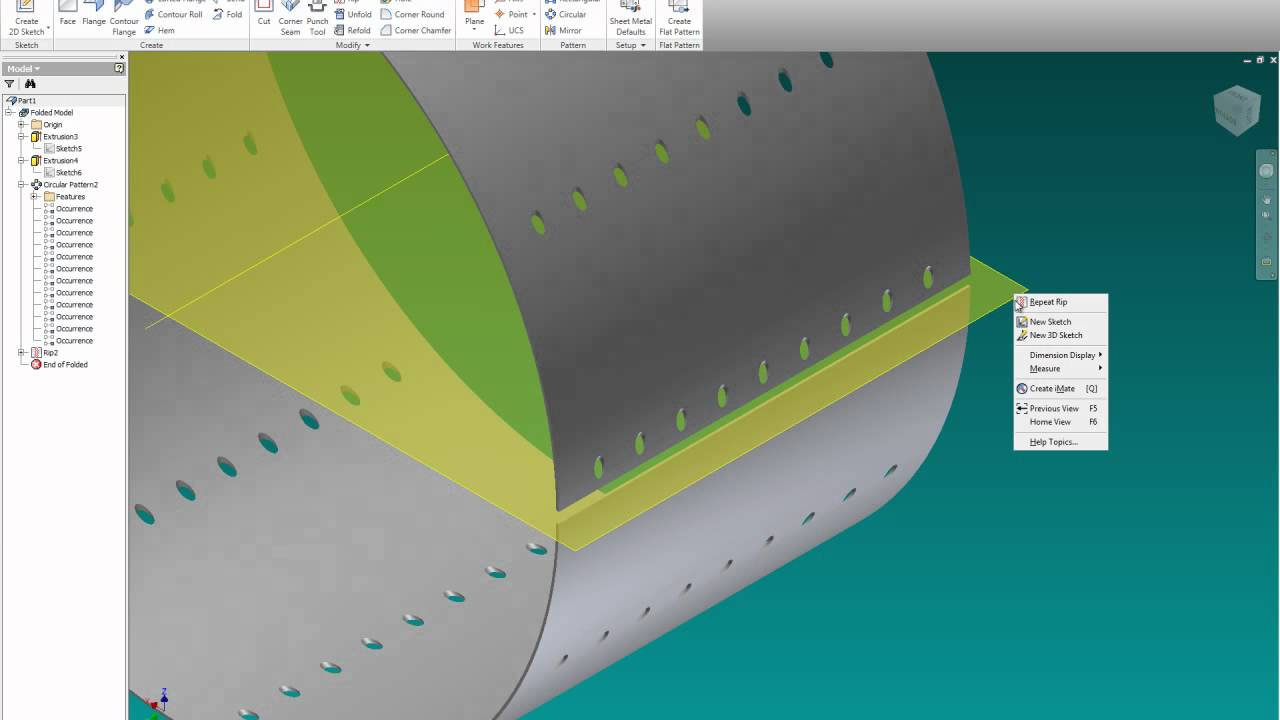 Inventor 2011 Sheet Metal Cylinder With Rip Youtube