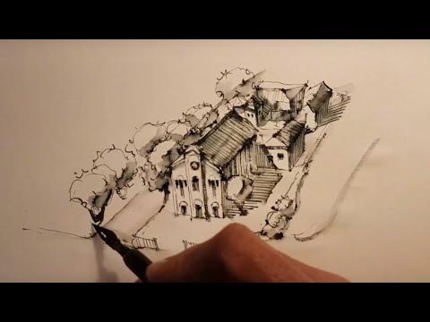 Ландшафтный Скетчинг, Стрим Из Итали, Рисую церковь в городе Фано