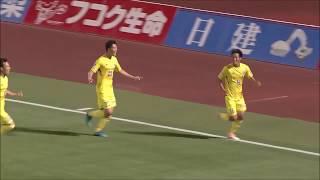 小林 成豪(山形)が右サイドからのFKを頭で叩き込み、試合終了間際に劇...