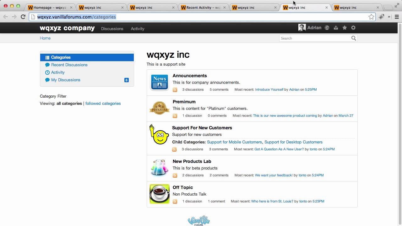 Vanilla Forums Homepage Appearance