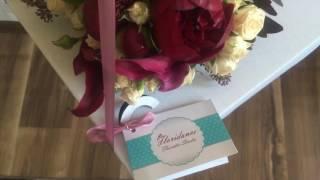 Свадебный букет невесты из пионов цвета марсала и роз цвета Айвори Киев by Floridance