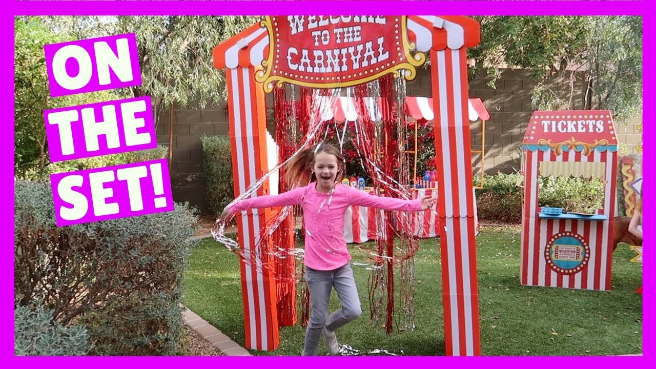 Backyard Carnival we're setting up the super cool carnival in our backyard - youtube