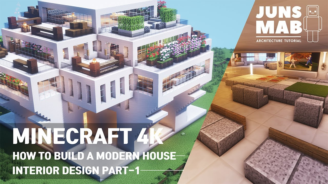 Minecraft tutorial ::A real architect's building Interior Design Part -1 / Modern house #111