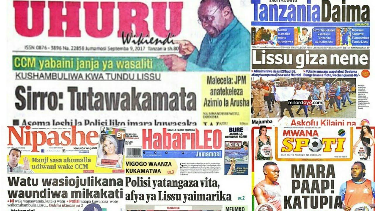 Magazeti ya Leo Jumamosi 9/9/2017.Tutawakamata.