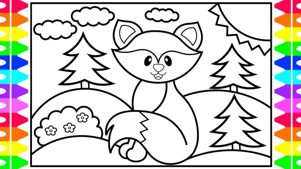 how to draw a cute fox stepstep for kids 🦊forest