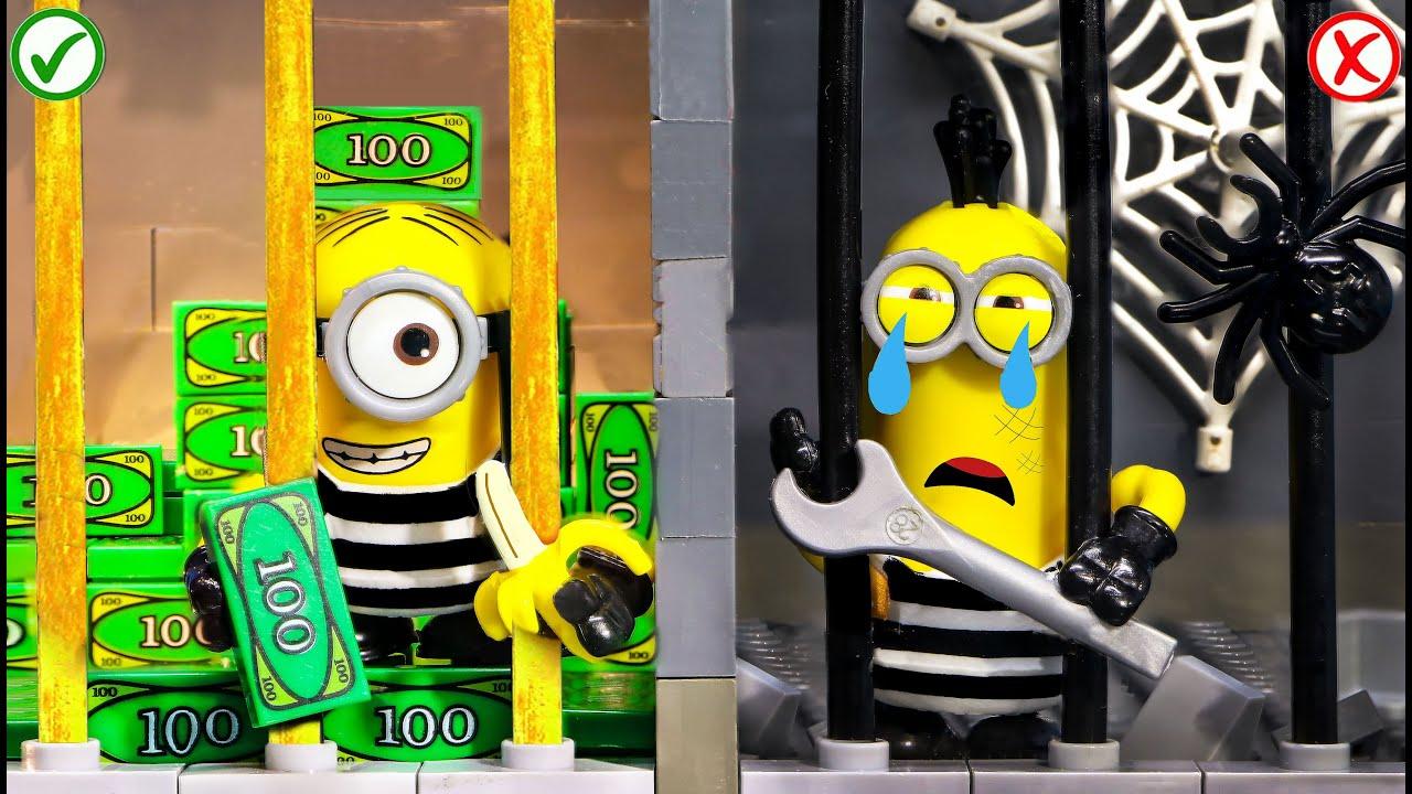 RICH JAIL VS BROKE JAIL   Lego Prison Break Situation (Lego Stop Motion)