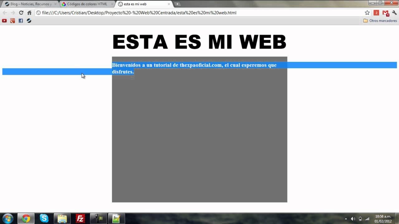 Página 5 De 6: Tutorial HTML/CSS: Centrar Una Pagina Web De Una Forma