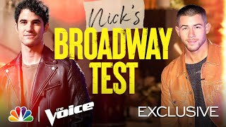 Nick Jonas Quizzes Darren Criss on Broadway Characters - The Voice Battles 2021