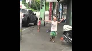 Little girl gets mad to her bro