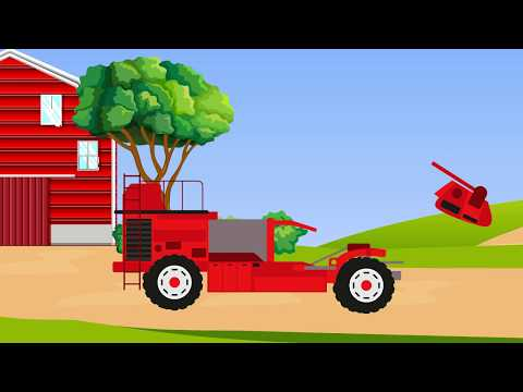 Combine, Farm, Tractor Harvesting Carrots Animation For Kids