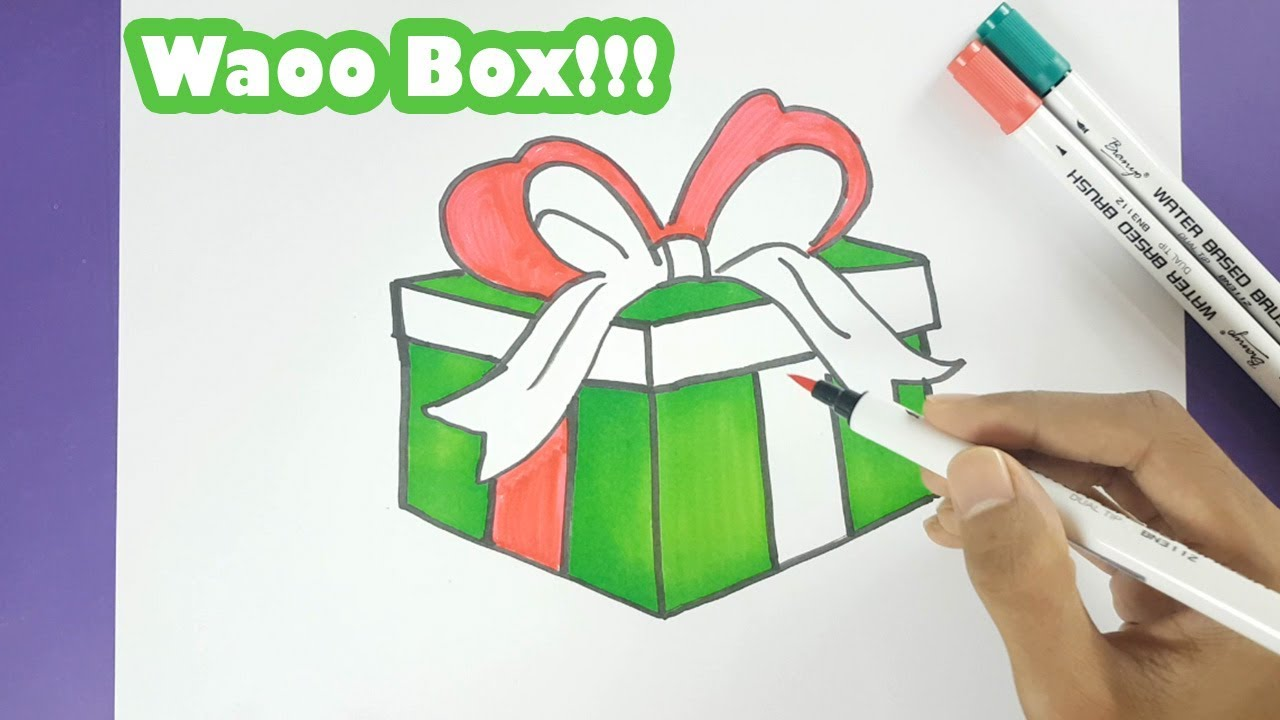how to draw an amazing christmas gift box and color it step by step drawing waoo box for christmas