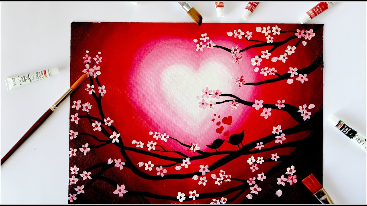Love birds valentine's day painting || Step by Step ...