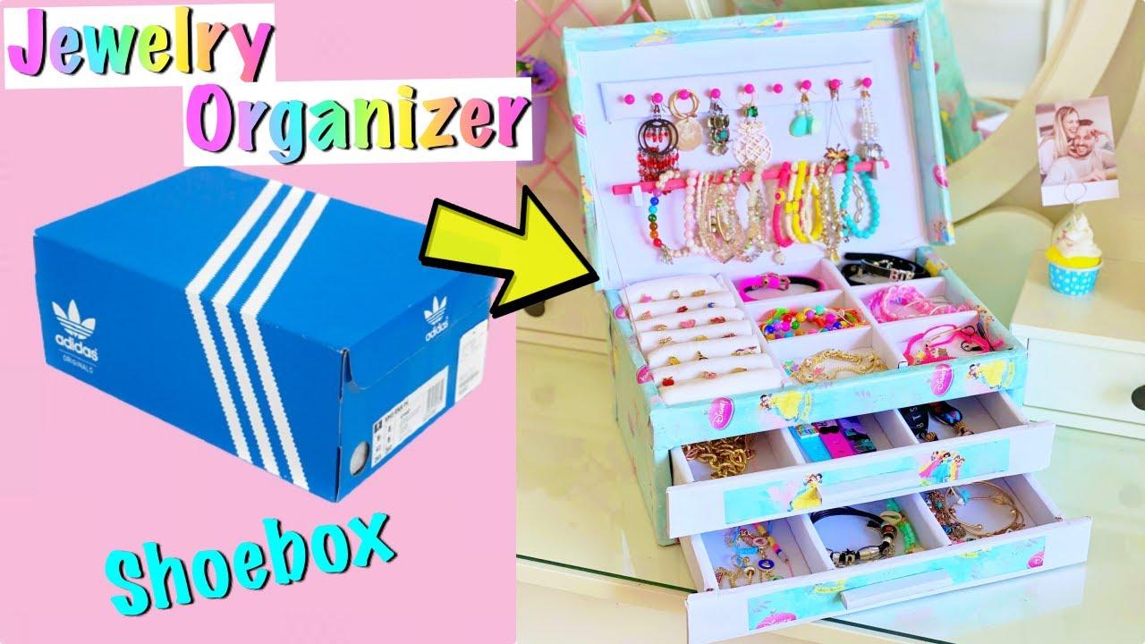 DIY - How to make Jewelry Organizer with waste Shoebox