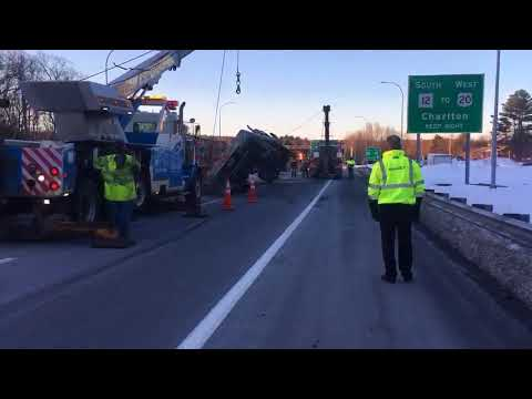 Crews remove overturned tractor trailer from Massachusetts Turnpike in Auburn (Video)