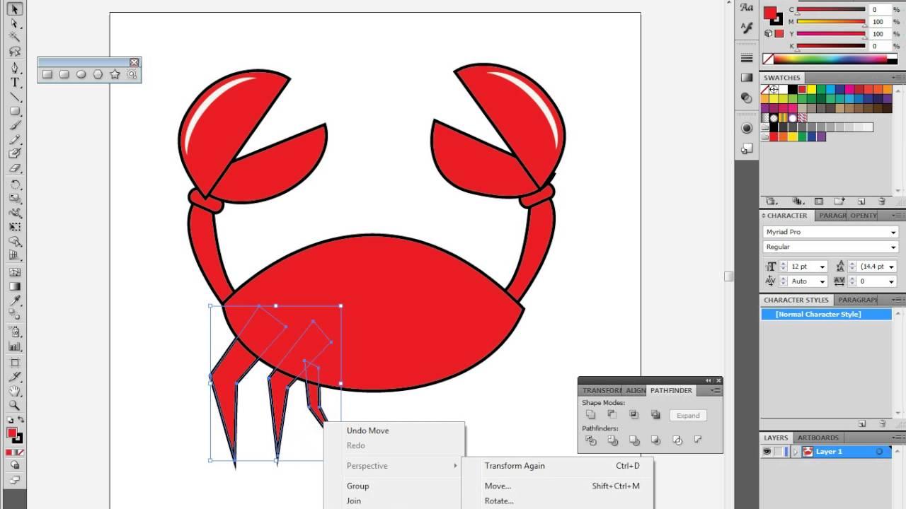 Adobe Illustrator Crab Drawing
