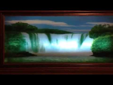Vintage Framed Motion Waterfall Lights up and birds/water sounds ...