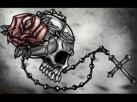 Tatuaje De Rosa Calavera Y Camandula Youtube