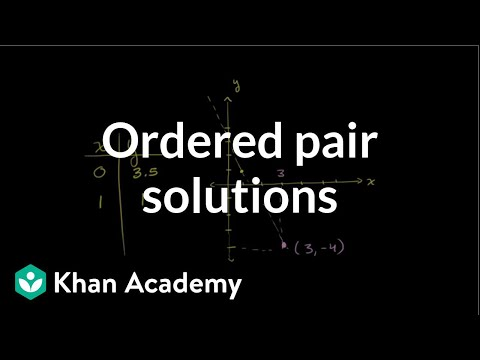 Ordered pair solutions to equations | Graphing lines and slope | Algebra Basics | Khan Academy