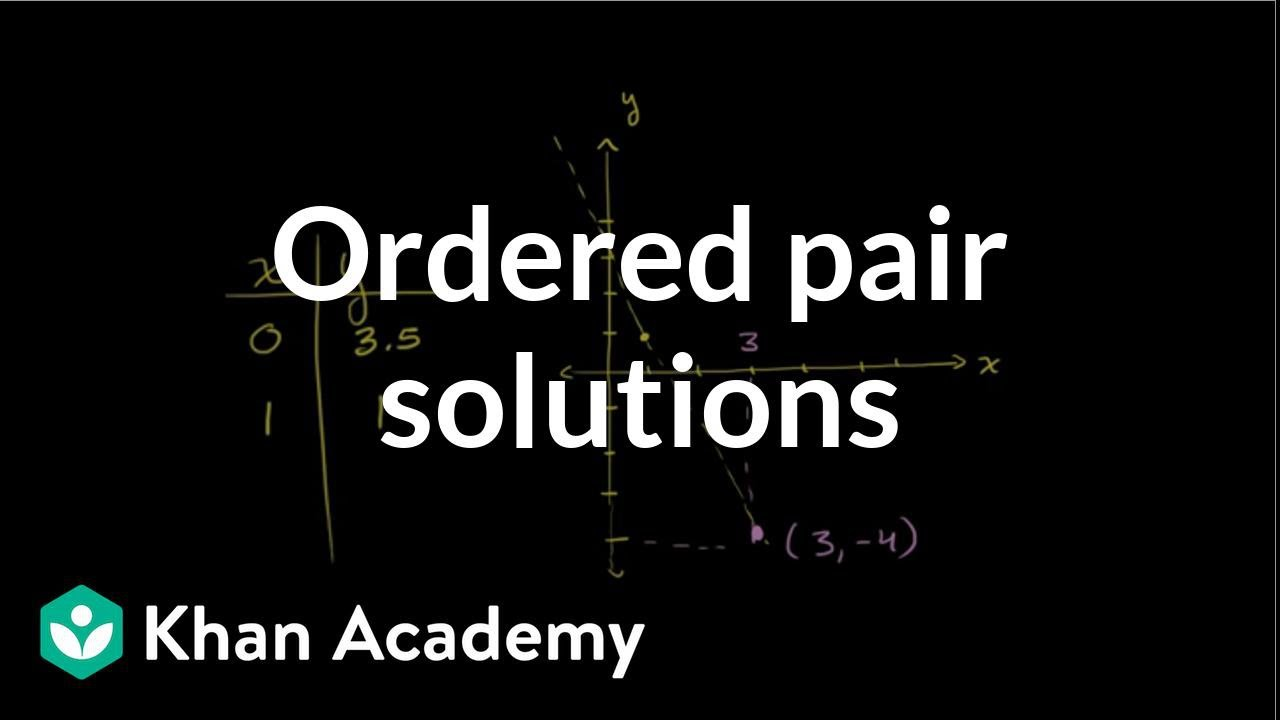 Ordered Pair Solutions To Equations  Graphing Lines And Slope  Algebra  Basics  Khan Academy