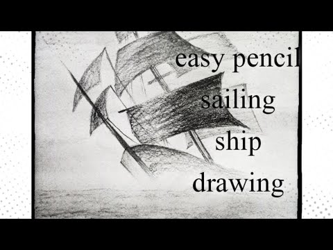 How to draw step by step  sailing ship drawing/easy pencil drawing/pencil sketch/pencil boat drawing