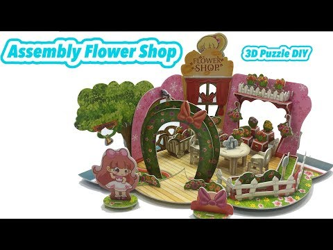 3D Puzzle DIY, Assembly Flower Shop Shopping Mall Video tutorial