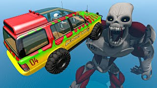BeamNG Drive Game - Crazy Cars Ramp Jumps Over Terminator & Beholder On Container Ship