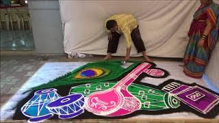 Musical Instruments Rangoli by Sunil Sontakke