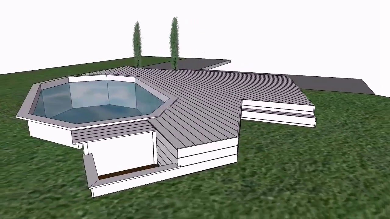 Terrasse piscine bois ip youtube for Amenagement piscine hors sol bois