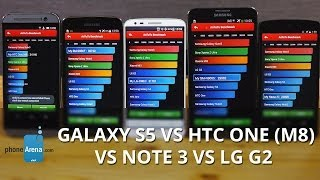 Galaxy S5 vs HTC One (M8) vs Note 3 vs LG G2 benchmark comparison
