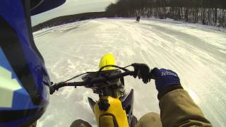 Dirt bike on ice with race fuel