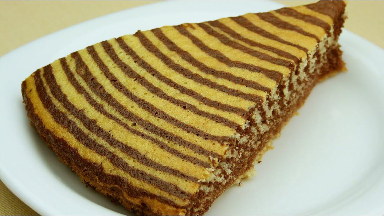 торт зебра на воде и на подсолнечном масле рецепт