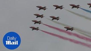 Red Arrows part of warplanes flypast in Portsmouth