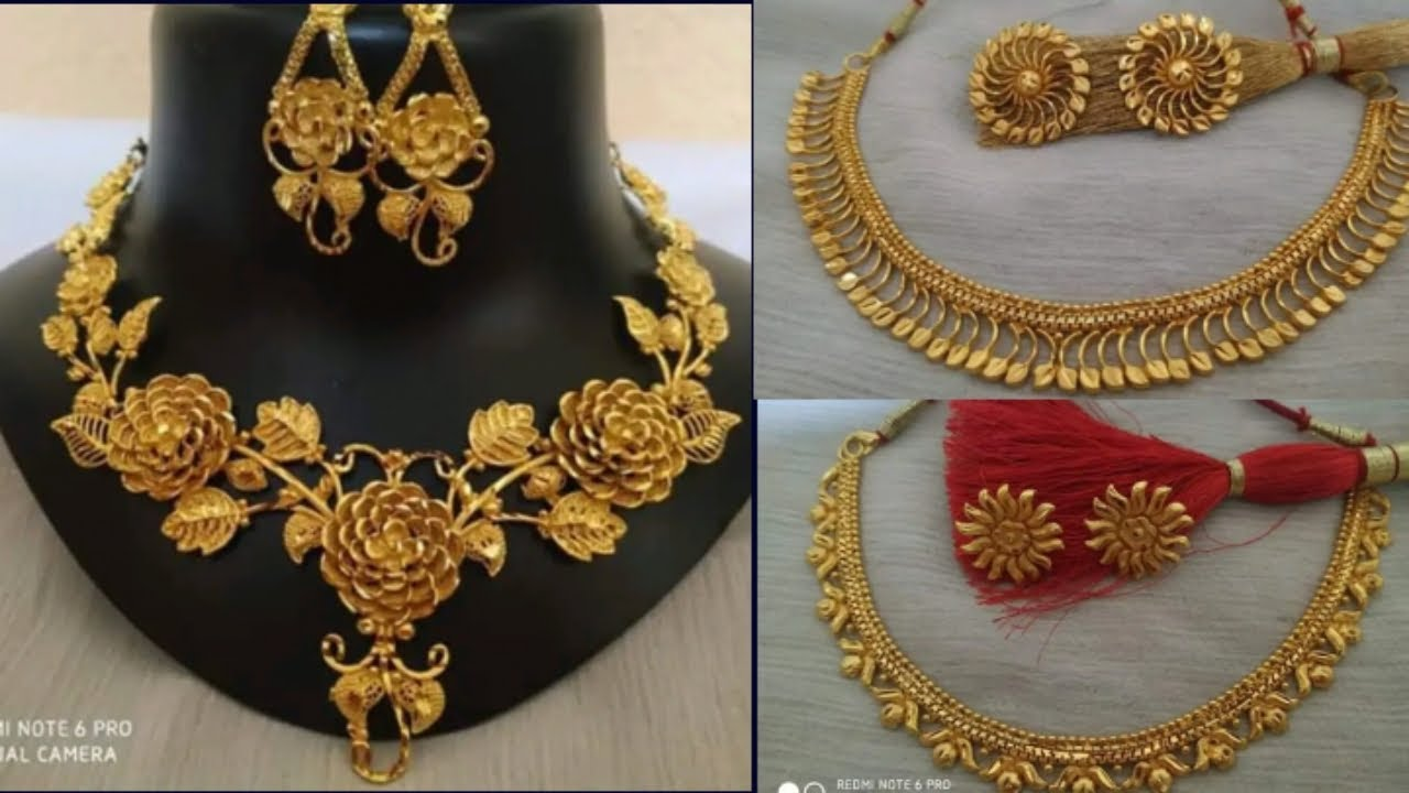 Gold wedding necklace design with weight and price //simple gold necklace set