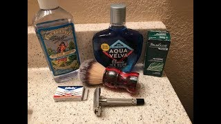 WCS Ancient Stone-Red Jasper Brush, Gillette Black Tip, Palmolive Soap & Aqua Velva Aftershave.