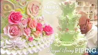 CAKE DECORATING TECHNIQUES - HOW TO - ROYAL ICING PIPING & FLOWER MAKING DEMO TUTORIALS Pt. 1