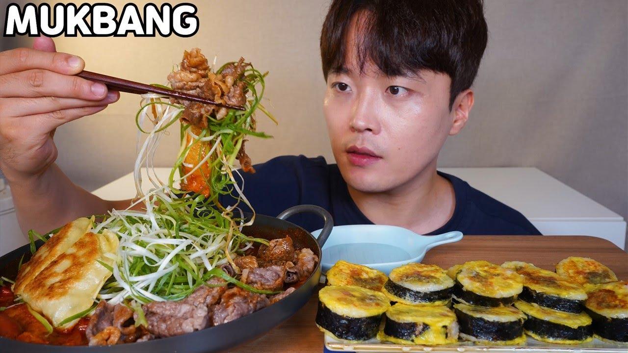 차돌박이떡볶이 김밥전 먹방 Spicy Beef Tteokbokki & Gimbap jeon MUKBANG ASMR REAL SOUND EATING SHOW COOKING