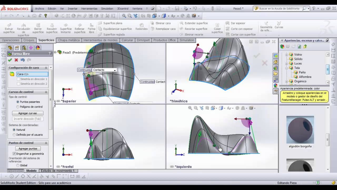Superficies forma libre en SolidWorks - YouTube