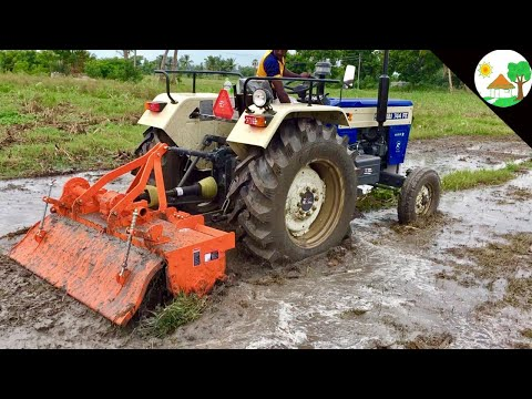 First Time MUD New Tractor SWARAJ 744 FE and NEW SHAKTIMAN ROTAVATOR