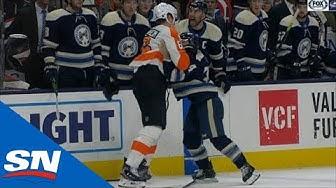 Nathan Gerbe Flattens Claude Giroux Then Fights Travis Sanheim